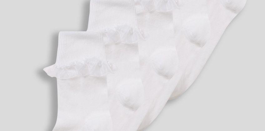 White Turnover Top Socks 5 Pack from Argos
