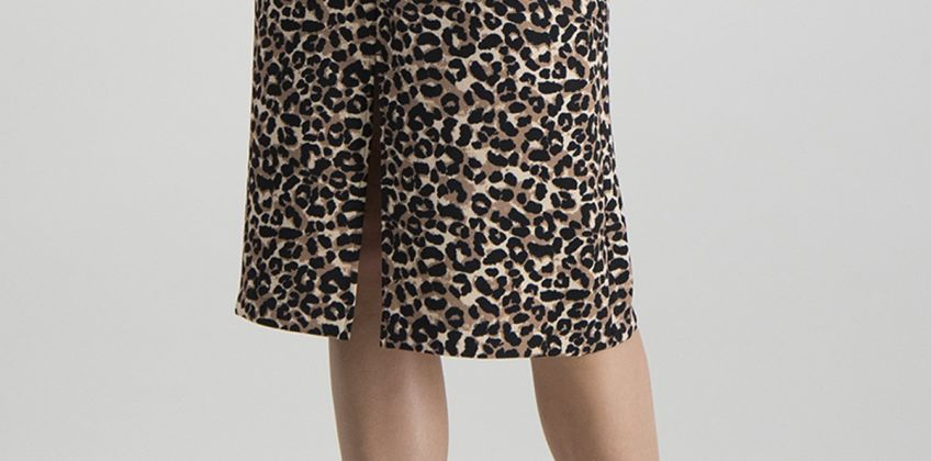 Online Exclusive Brown Animal Print Pencil Skirt from Argos