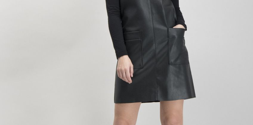 Black Faux Leather Pinafore from Argos