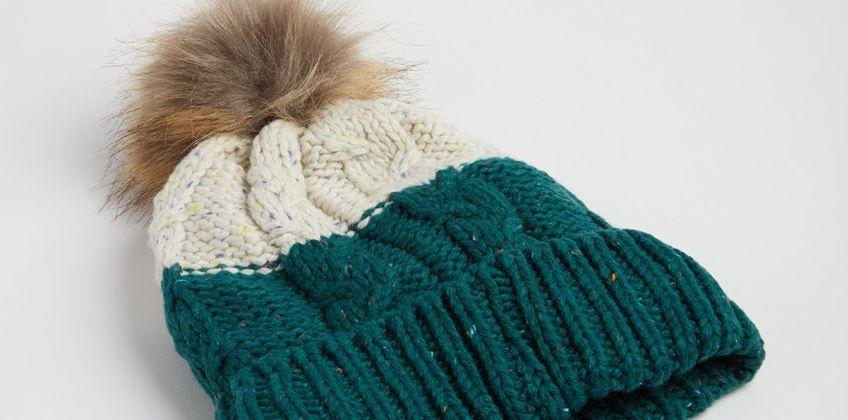 Green & Cream Beanie Hat from Argos
