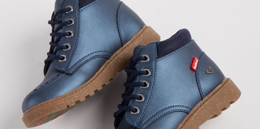 TOEZONE Navy Metallic Chunky Lace Up Boot from Argos