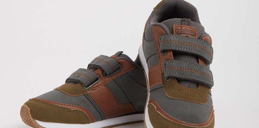 Grey & Khaki Mixed Fabric Twin Strap Trainers from Argos