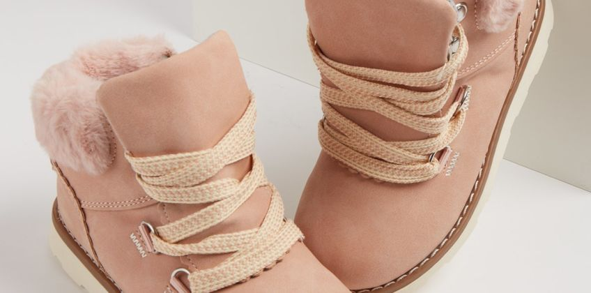 Pink Lace Up Faux Fur Cuff Hiker Boots from Argos