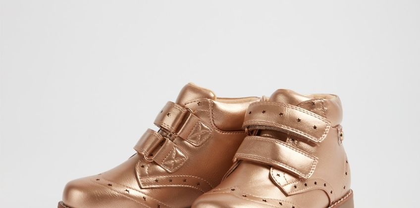 Metallic Gold Twin Strap High Top Boots from Argos