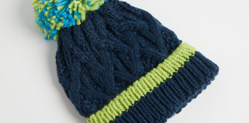 Navy Cable Knitted Beanie Hat from Argos
