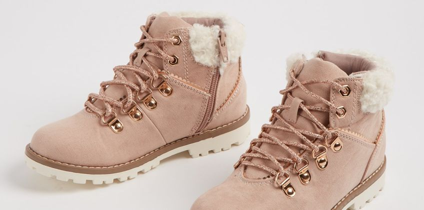 Light Pink Lace Up Hiker Boots from Argos