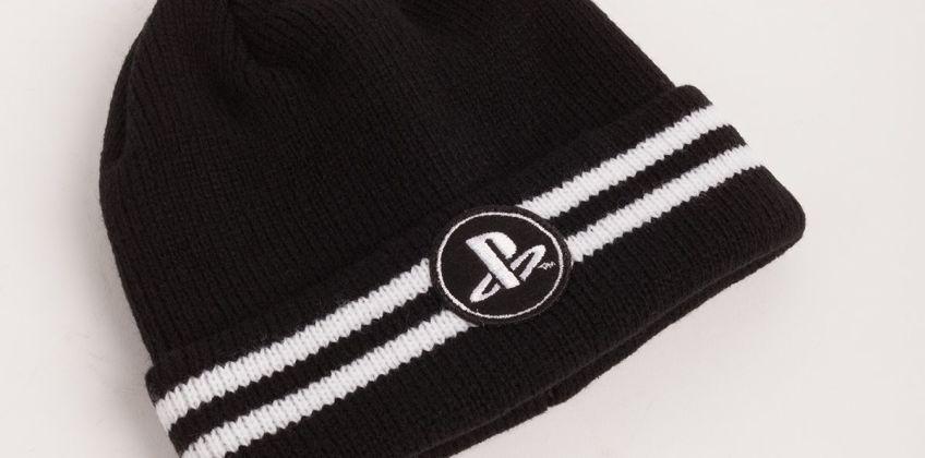 PlayStation Black & White Stripe Beanie Hat from Argos
