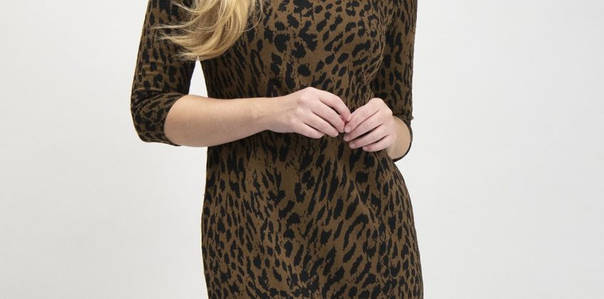 Brown Leopard Print Jacquard Dress from Argos