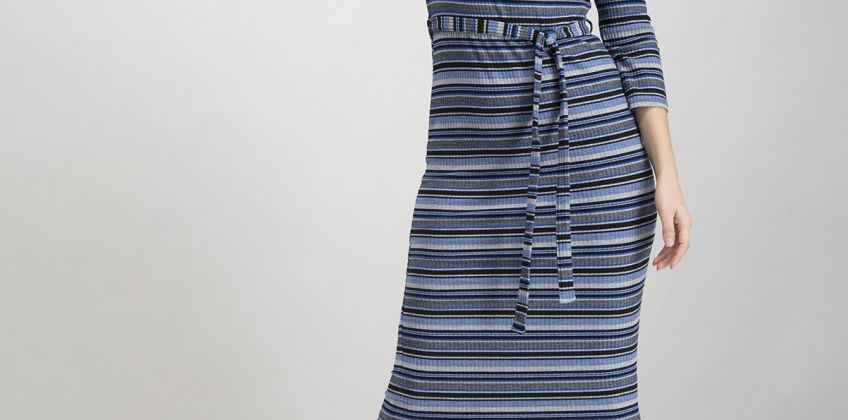 Blue & Grey Stripe Rib Midi Dress from Argos