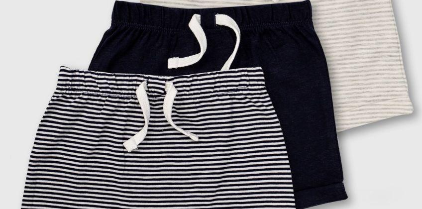 Stripe & Plain Jersey Short 3 Pack from Argos