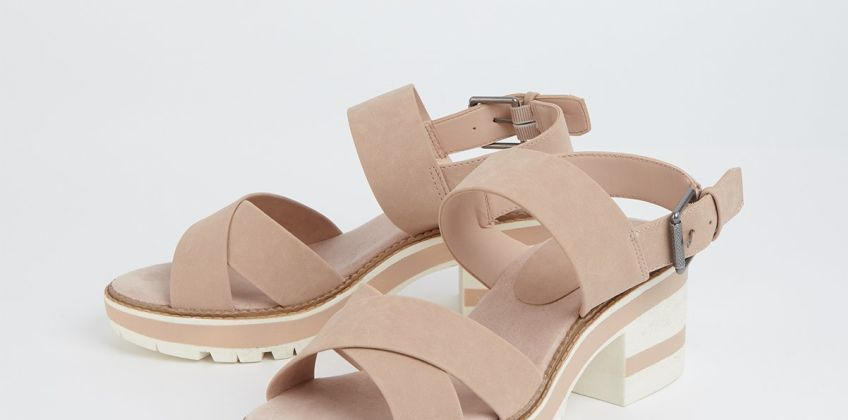 Nude Faux Leather Block Heel Sandals from Argos