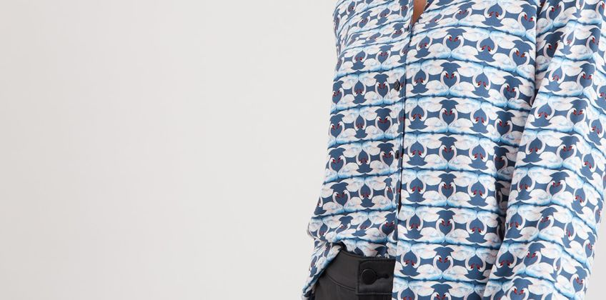 Blue Swan Print Shirt from Argos