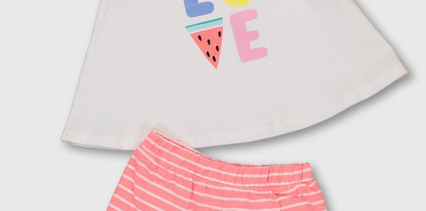 'LOVE' White Vest & Stripe Shorts from Argos
