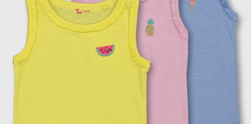 Pastel Fruity Frill Trim Vest 3 Pack from Argos