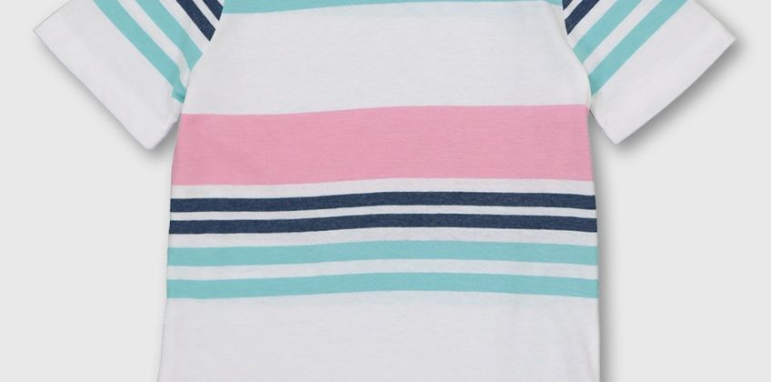 Pink & Blue Stripe T-Shirt from Argos