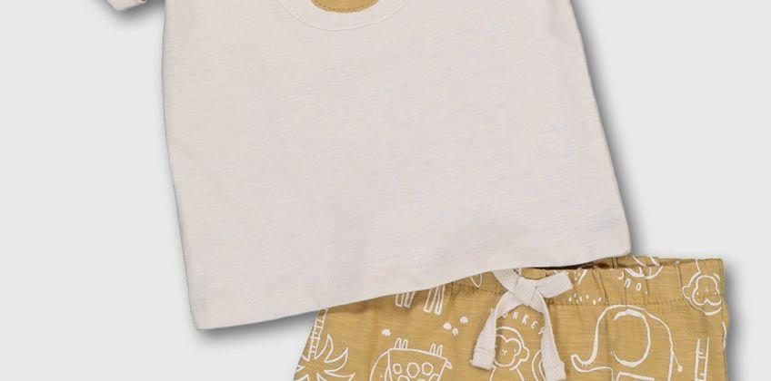 Monkey T-Shirt & Mustard Shorts from Argos