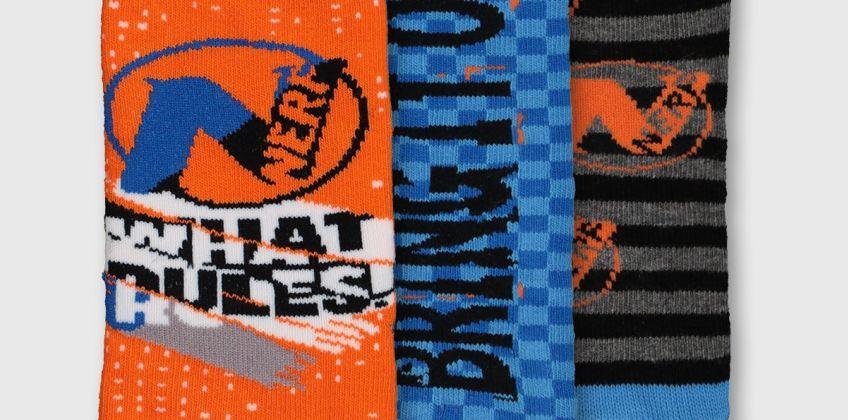 Nerf Orange, Blue & Grey Socks 3 Pack from Argos