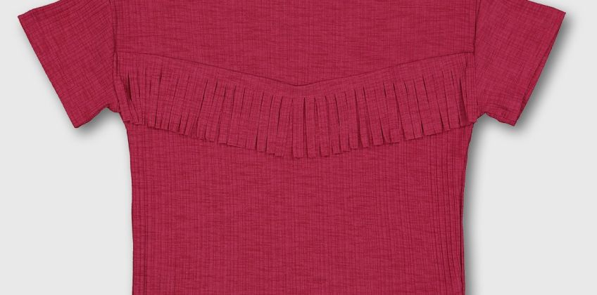 Magenta Pink Fringed Short Sleeve Top from Argos