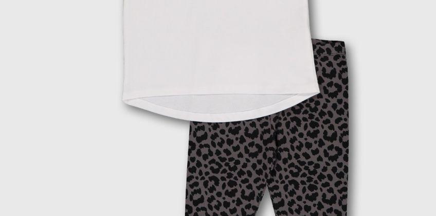 White 'No Drama' T-Shirt & Leopard Print Leggings from Argos