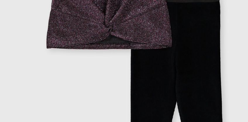 Pink Glitter Top & Leggings Set from Argos