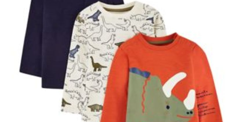 orange, white and blue dinosaur t-shirts - 3 pack from Mothercare