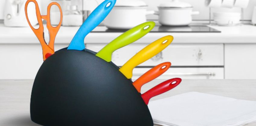 six-piece rainbow knife set with stand from Bright Associate Limited