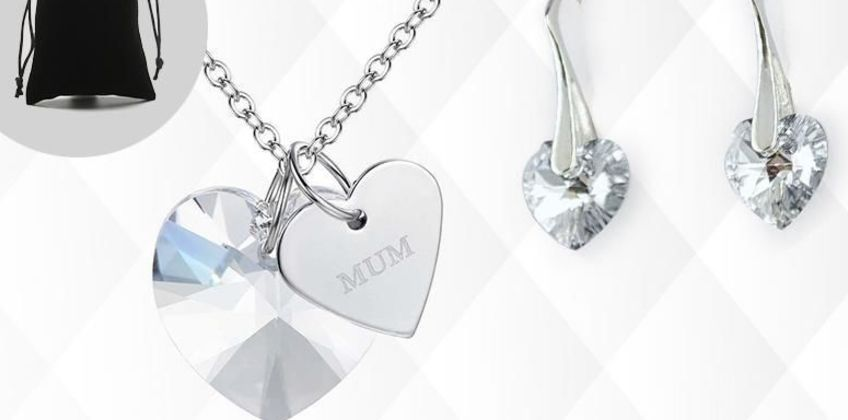 £5.99 instead of £99 for a crystal heart jewellery set from Genova International Ltd - save 94% from Wowcher