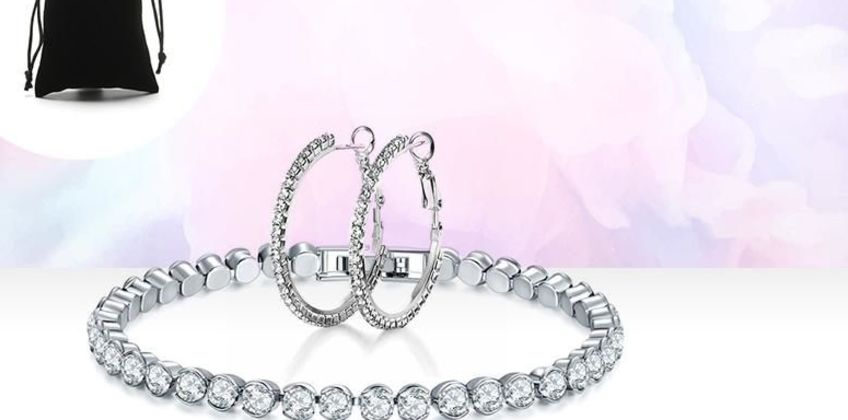 £6.99 instead of £89 for a crystal tennis bracelet and hoop earrings set from Genova International Ltd - save 92% from Wowcher