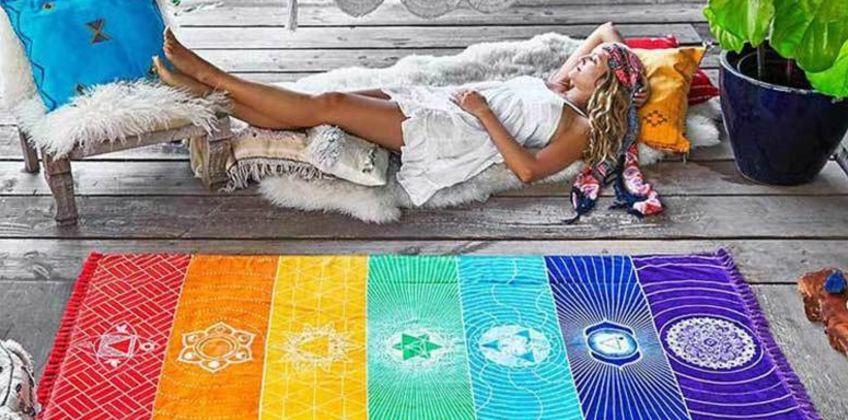 £5.99 instead of £14.99 (from Hey4Beauty) for a medium chakra beach mat, £8.99 for a large mat- save up to 60% from Wowcher