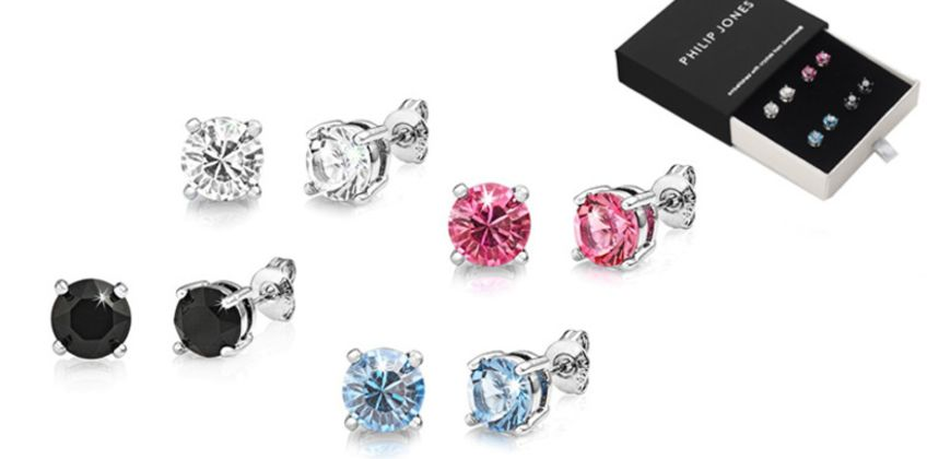£9.99 instead of £27.99 for four pairs of Philip Jones crystal earrings from Silver Supermarket - save 64% from Wowcher