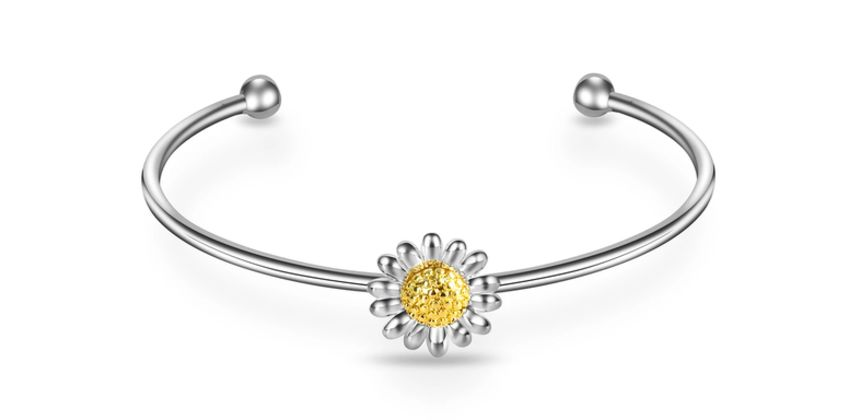 £6.99 instead of £18.99 for a Philip Jones daisy cuff bangle from Silver Supermarket Ltd - save 63% from Wowcher