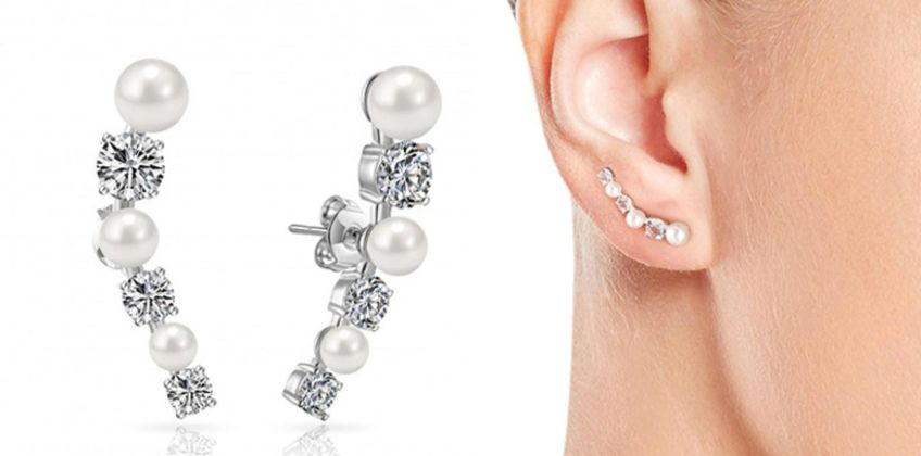 £5.99 instead of £16 (from Philip Jones) for a pair of pearl climber earrings – choose from three colours and save 63% from Wowcher