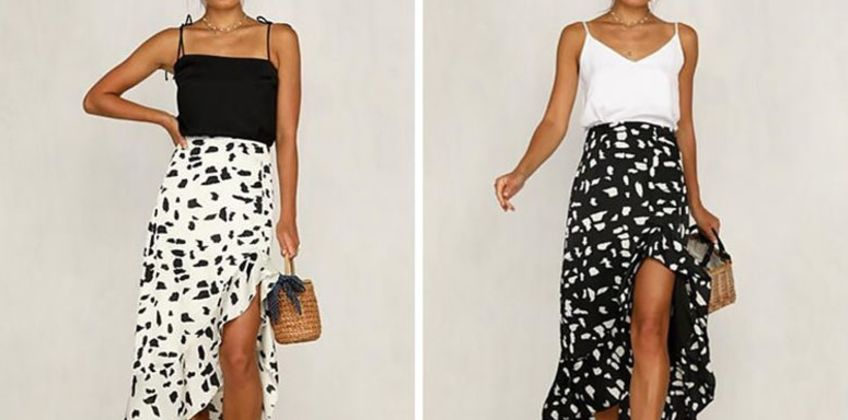 £7.99 (from MBLogic) for a high low monochrome maxi skirt – choose from two colours from Wowcher