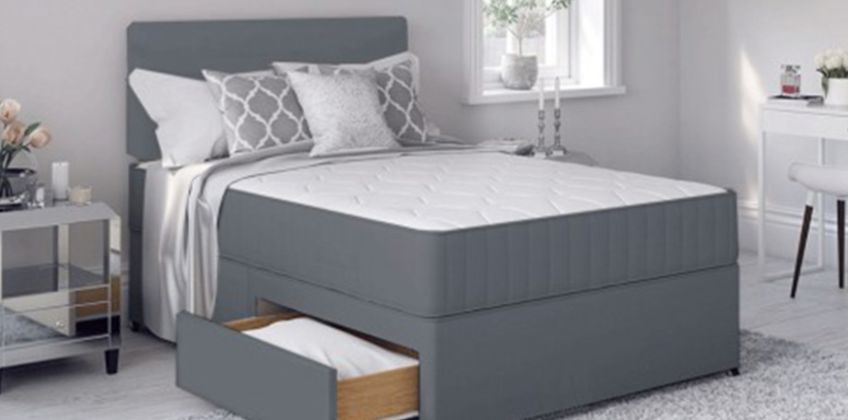 From £69 instead of £469.01 (from Diningtables.co.uk) for a grey fabric Divan bed set - save up to 85% from Wowcher