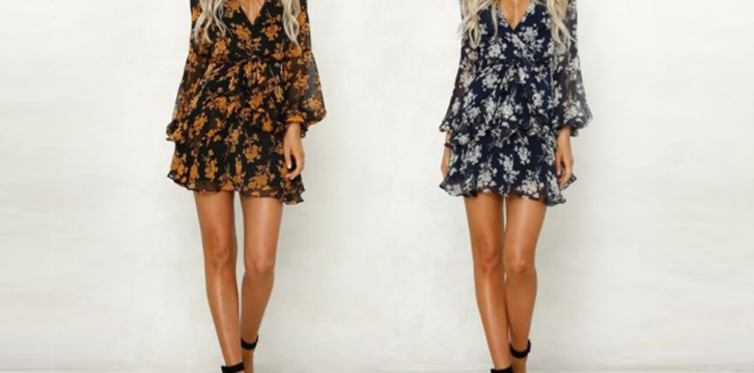 £10.99 (from Yello Goods) for a long sleeve floral dress - choose from two colors! from Wowcher