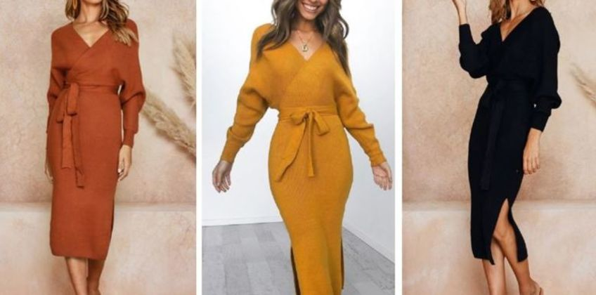 £12.99 instead of £39.99 for a Women's V Neck Knitted Wrap Dress - 3 Colours to choose from My Brand Logic - save 68% from Wowcher