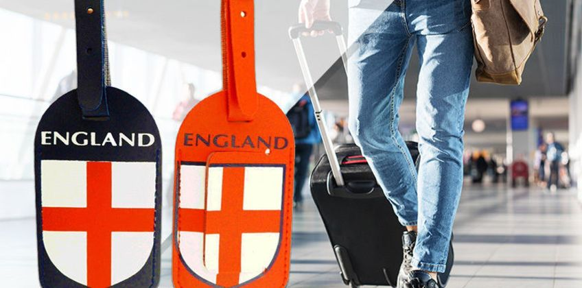 £2.99 instead of £14.99 for a Pack of 2 England Luggage Tags from London Exchain Store - save up to 80% from Wowcher
