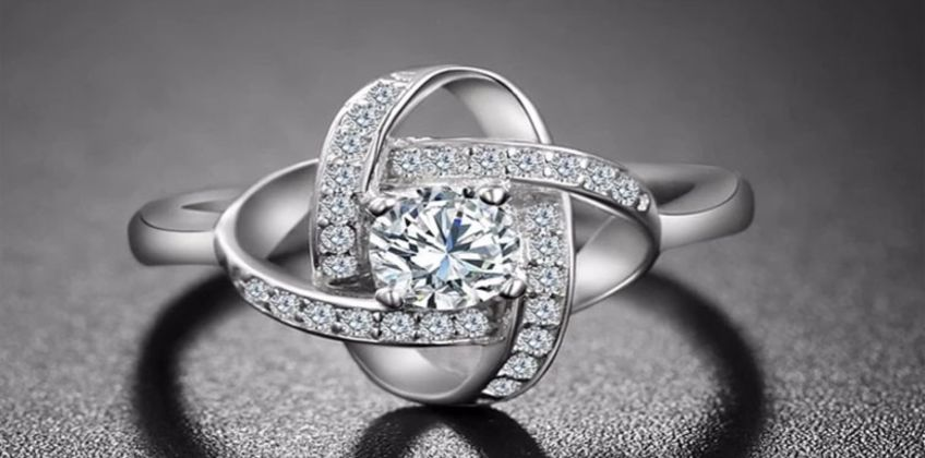 £12 for a Sparkling Love Knot Ring - Adjustable! from Genova International Ltd from Wowcher