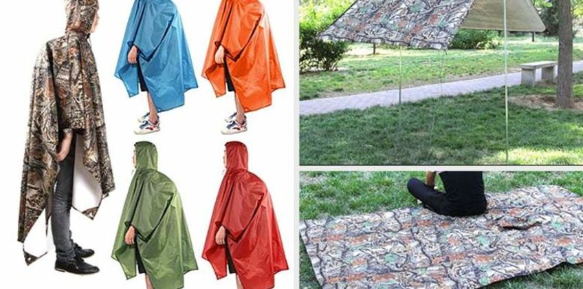 £6.99 (from Domo Secret) for a 3-in-1 hiking raincoat – use as a blanket, shelter and more! from Wowcher