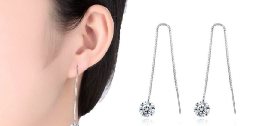 £5.99 for drop thread crystal earrings from Solo Act Ltd from Wowcher