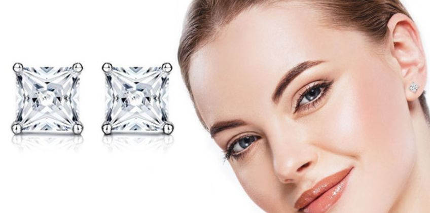£5.99 instead of £13 (from Sreema London) for a pair of sterling silver princess cut cubic zirconia stud earrings - save 54% from Wowcher