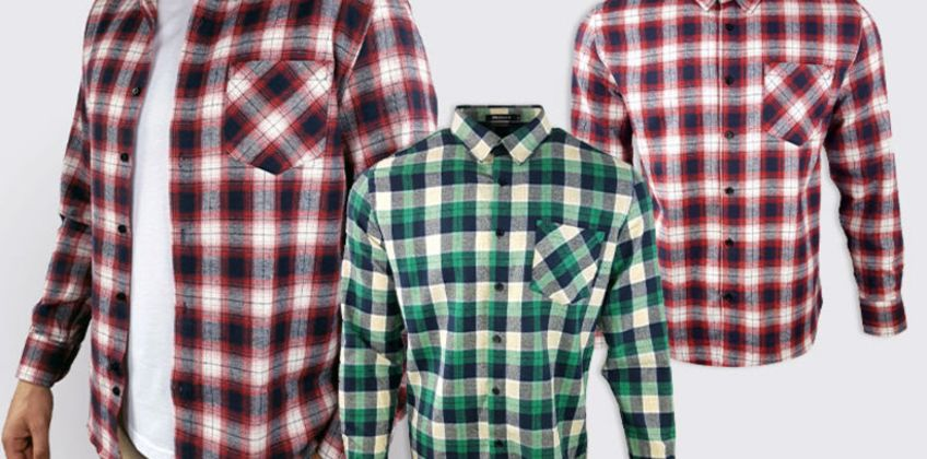 £14.99 (from Blu Apparel) for a men's long-sleeved flannel shirt - choose from four colours! from Wowcher