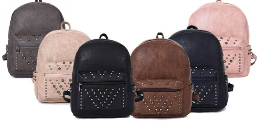 £8 instead of £32.99 (from Belle Accessories) for a ladies studded backpack - choose your colour - Save 76%   from Wowcher