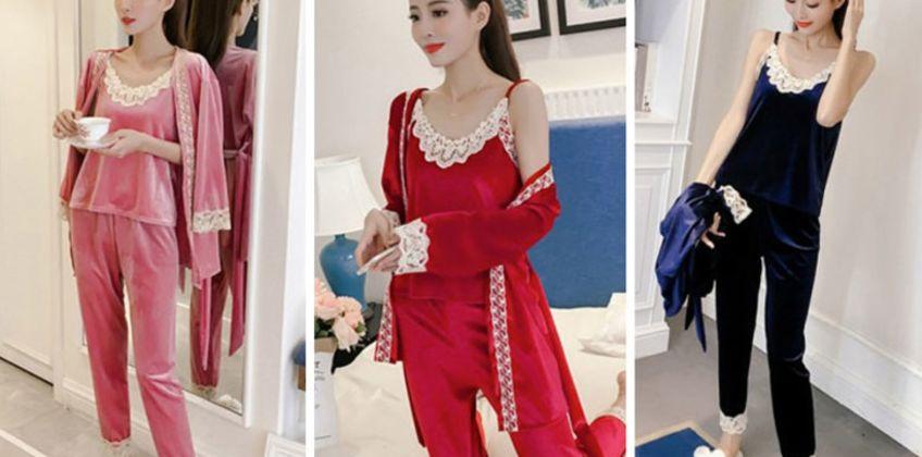 £19.99 (from Pinkpree) for a three-piece velvet pyjama set  from Wowcher