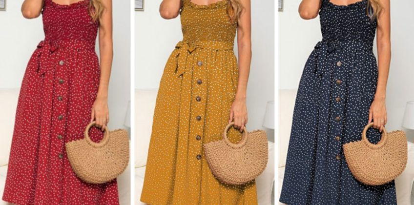 £12 instead of £28.99 (from Yello Goods) for a polka dot midi dress in blue, red or yellow – choose from ladies UK dress sizes 8-14 and save 59% from Wowcher