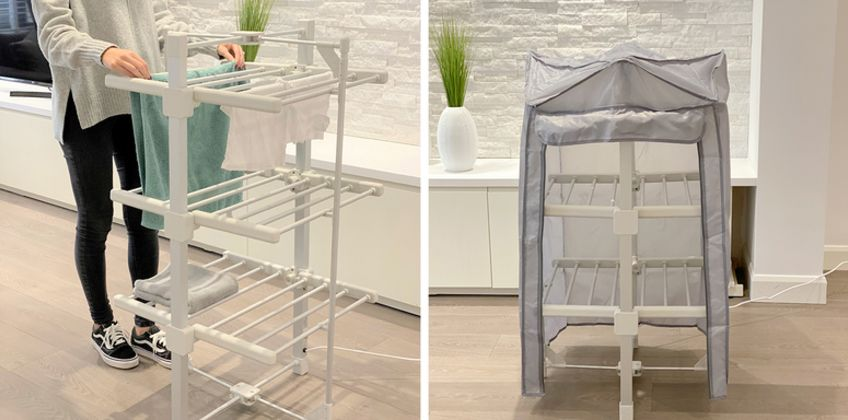£59.99 instead of £179.99 (from Personal Choice) for a three-tier heated clothes airer, or £69.99 for a clothes airer and a cover - save up to 67% from Wowcher