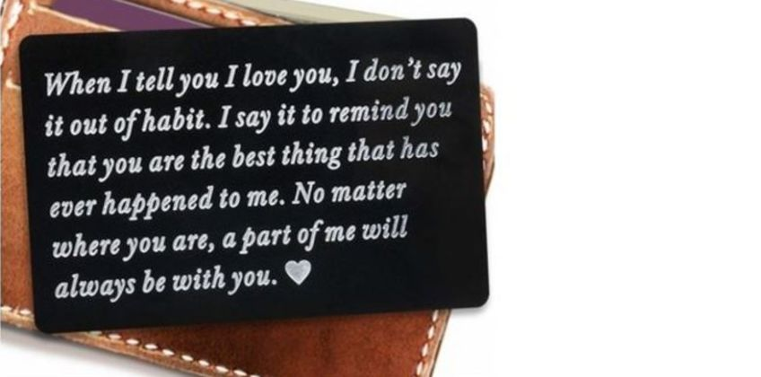 £3.99 instead of £19.99 for an engraved wallet insert gift - choose from two colours from Hey4Beauty - save 80% from Wowcher