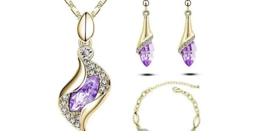 £12.99 instead of £99.99 for a yellow gold and lilac tri set from Evoked Design - save 87% from Wowcher