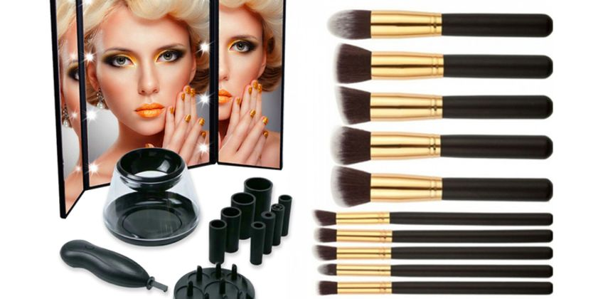 £18.99 instead of £108.97 (from WowWhatWho) for a bundle of 10 makeup brushes, an LED mirror and an electric brush cleaner – choose from three colours and save 83% from Wowcher