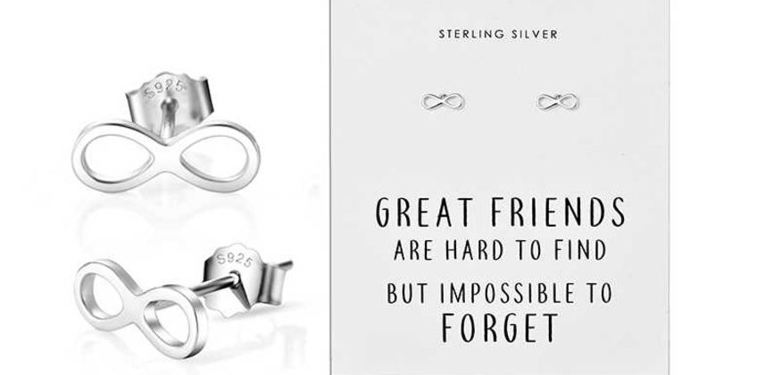 £5.99 instead of £15.99 (from Philip Jones) for a pair of sterling silver infinity friendship quote earrings - save 63%  from Wowcher